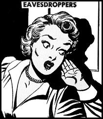 Lady eavesdropper snoop at the door.