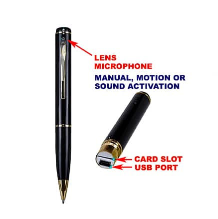 Spy pen commonly used for surreptitious workplace recording.