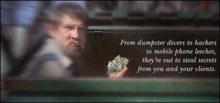 Business Espionage Top Ten Tips - Dumpster Diver