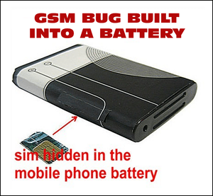 GSM Bug hidden in a battery.