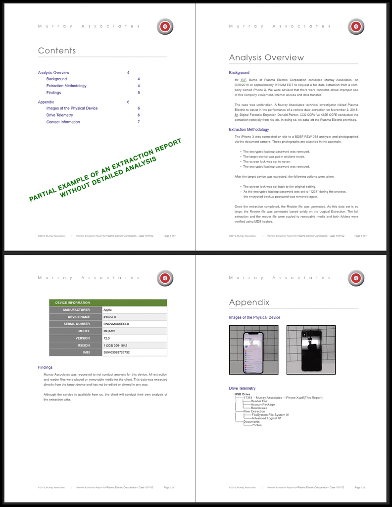 Sample Remote Extraction Report