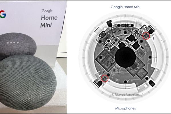 X-ray Google Home Mini w text