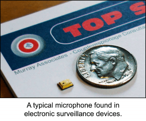 Typical microphone found in electronic surveillance devices.